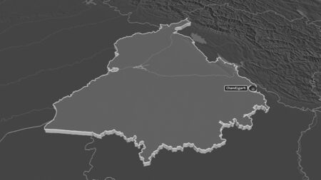 Zoom in on Punjab (state of India) extruded. Oblique perspective. Bilevel elevation map with surface waters. 3D rendering