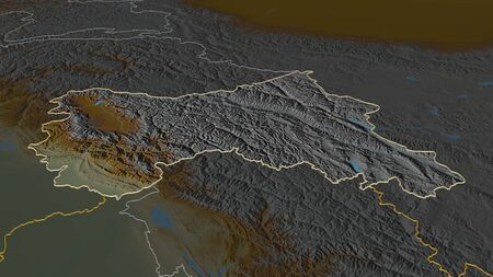 Zoom in on Jammu and Kashmir (state of India) outlined. Oblique perspective. Topographic relief map with surface waters. 3D rendering Stock Photo