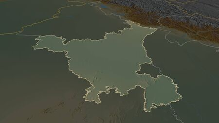 Zoom in on Haryana (state of India) outlined. Oblique perspective. Topographic relief map with surface waters. 3D rendering