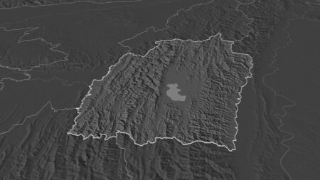 Zoom in on Manipur (state of India) outlined. Oblique perspective. Bilevel elevation map with surface waters. 3D rendering