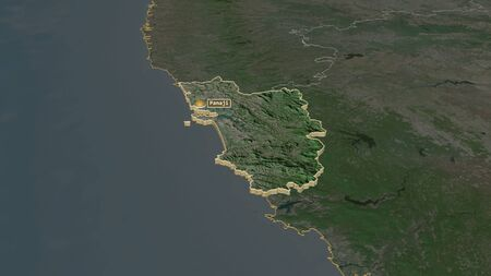 Zoom in on Goa (state of India) extruded. Oblique perspective. Satellite imagery. 3D rendering