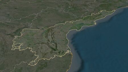 Zoom in on Andhra Pradesh (state of India) outlined. Oblique perspective. Satellite imagery. 3D rendering