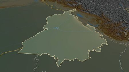 Zoom in on Punjab (state of India) outlined. Oblique perspective. Topographic relief map with surface waters. 3D rendering