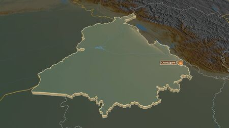 Zoom in on Punjab (state of India) extruded. Oblique perspective. Topographic relief map with surface waters. 3D rendering Stock Photo
