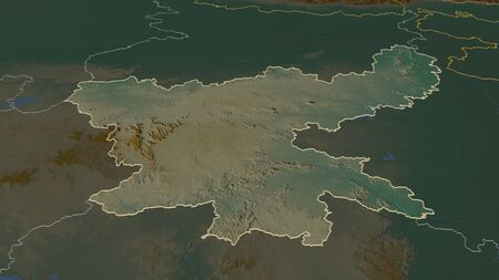 Zoom in on Jharkhand (state of India) outlined. Oblique perspective. Topographic relief map with surface waters. 3D rendering