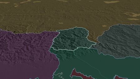 Zoom in on Sikkim (state of India) outlined. Oblique perspective. Colored and bumped map of the administrative division with surface waters. 3D rendering