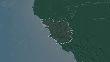 Zoom in on Goa (state of India) outlined. Oblique perspective. Colored and bumped map of the administrative division with surface waters. 3D rendering