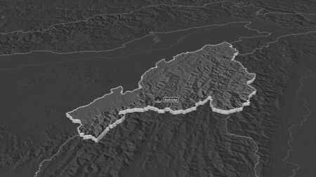 Zoom in on Nagaland (state of India) extruded. Oblique perspective. Bilevel elevation map with surface waters. 3D rendering