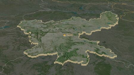 Zoom in on Jharkhand (state of India) extruded. Oblique perspective. Satellite imagery. 3D rendering