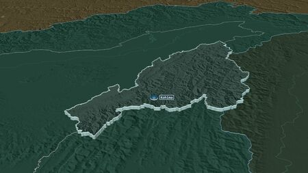 Zoom in on Nagaland (state of India) extruded. Oblique perspective. Colored and bumped map of the administrative division with surface waters. 3D rendering Stock Photo