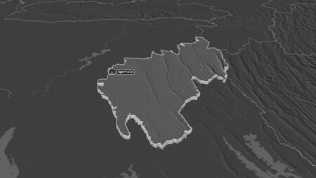 Zoom in on Tripura (state of India) extruded. Oblique perspective. Bilevel elevation map with surface waters. 3D rendering Stock Photo