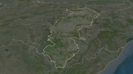 Zoom in on Chhattisgarh (state of India) outlined. Oblique perspective. Satellite imagery. 3D rendering