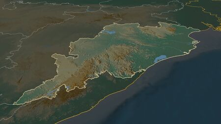 Zoom in on Odisha (state of India) outlined. Oblique perspective. Topographic relief map with surface waters. 3D rendering Stock Photo