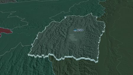 Zoom in on Manipur (state of India) extruded. Oblique perspective. Colored and bumped map of the administrative division with surface waters. 3D rendering