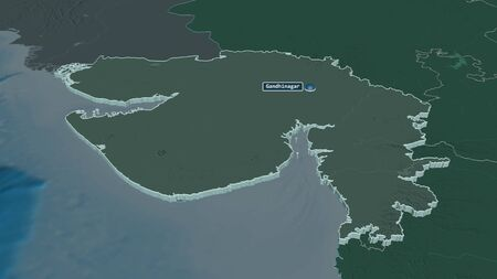 Zoom in on Gujarat (state of India) extruded. Oblique perspective. Colored and bumped map of the administrative division with surface waters. 3D rendering