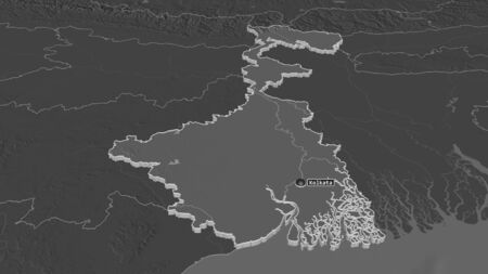 Zoom in on West Bengal (state of India) extruded. Oblique perspective. Bilevel elevation map with surface waters. 3D rendering Stock Photo