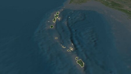 Zoom in on Andaman and Nicobar (union territory of India) outlined. Oblique perspective. Satellite imagery. 3D rendering