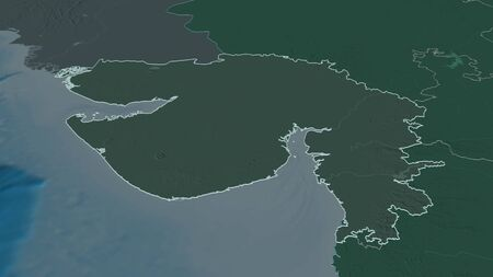Zoom in on Gujarat (state of India) outlined. Oblique perspective. Colored and bumped map of the administrative division with surface waters. 3D rendering