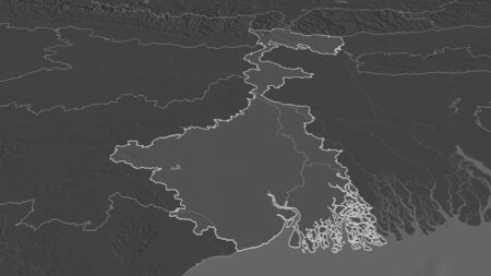 Zoom in on West Bengal (state of India) outlined. Oblique perspective. Bilevel elevation map with surface waters. 3D rendering Stock Photo