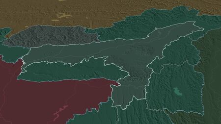 Zoom in on Assam (state of India) outlined. Oblique perspective. Colored and bumped map of the administrative division with surface waters. 3D rendering Stock Photo