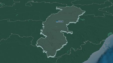 Zoom in on Chhattisgarh (state of India) extruded. Oblique perspective. Colored and bumped map of the administrative division with surface waters. 3D rendering