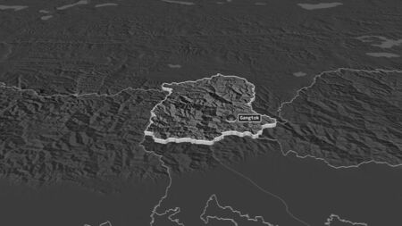 Zoom in on Sikkim (state of India) extruded. Oblique perspective. Bilevel elevation map with surface waters. 3D rendering Stock Photo