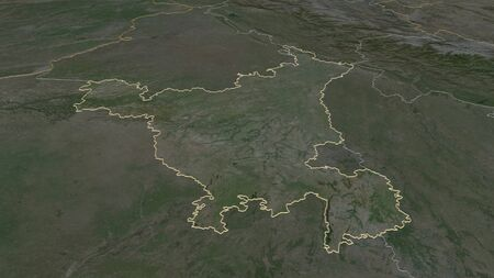 Zoom in on Haryana (state of India) outlined. Oblique perspective. Satellite imagery. 3D rendering