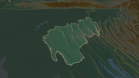 Zoom in on Tripura (state of India) outlined. Oblique perspective. Topographic relief map with surface waters. 3D rendering