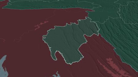 Zoom in on Tripura (state of India) outlined. Oblique perspective. Colored and bumped map of the administrative division with surface waters. 3D rendering Stock Photo