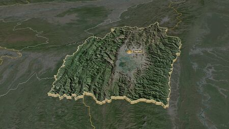 Zoom in on Manipur (state of India) extruded. Oblique perspective. Satellite imagery. 3D rendering Stock Photo