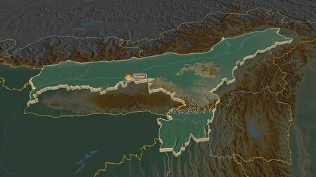 Zoom in on Assam (state of India) extruded. Oblique perspective. Topographic relief map with surface waters. 3D rendering Stock Photo
