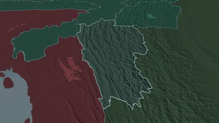 Zoom in on Mizoram (state of India) outlined. Oblique perspective. Colored and bumped map of the administrative division with surface waters. 3D rendering