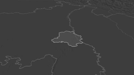 Zoom in on National Capital Territory of Delhi (union territory of India) outlined. Oblique perspective. Bilevel elevation map with surface waters. 3D rendering