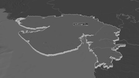 Zoom in on Gujarat (state of India) extruded. Oblique perspective. Bilevel elevation map with surface waters. 3D rendering Stock Photo