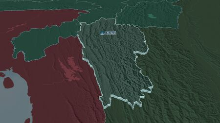 Zoom in on Mizoram (state of India) extruded. Oblique perspective. Colored and bumped map of the administrative division with surface waters. 3D rendering