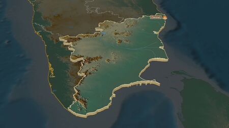 Zoom in on Tamil Nadu (state of India) extruded. Oblique perspective. Topographic relief map with surface waters. 3D rendering