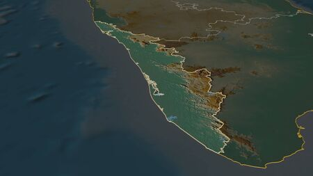 Zoom in on Kerala (state of India) outlined. Oblique perspective. Topographic relief map with surface waters. 3D rendering Stock Photo