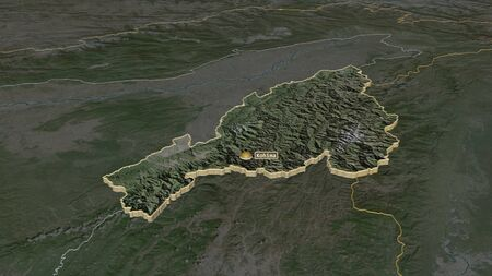 Zoom in on Nagaland (state of India) extruded. Oblique perspective. Satellite imagery. 3D rendering