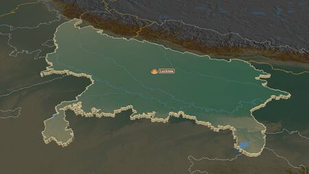 Zoom in on Uttar Pradesh (state of India) extruded. Oblique perspective. Topographic relief map with surface waters. 3D rendering Stock Photo