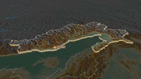 Zoom in on Arunachal Pradesh (state of India) extruded. Oblique perspective. Topographic relief map with surface waters. 3D rendering Stock Photo