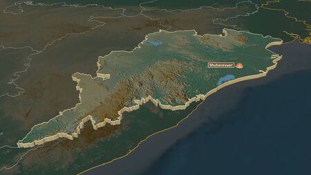 Zoom in on Odisha (state of India) extruded. Oblique perspective. Topographic relief map with surface waters. 3D rendering