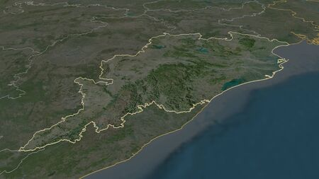 Zoom in on Odisha (state of India) outlined. Oblique perspective. Satellite imagery. 3D rendering Stock Photo