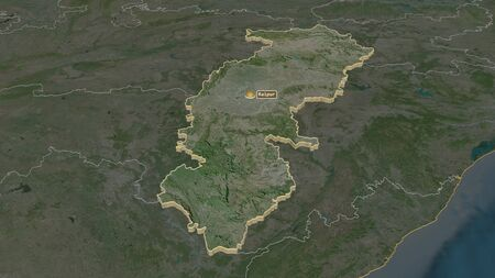 Zoom in on Chhattisgarh (state of India) extruded. Oblique perspective. Satellite imagery. 3D rendering
