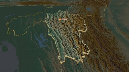 Zoom in on Mizoram (state of India) extruded. Oblique perspective. Topographic relief map with surface waters. 3D rendering Stock Photo