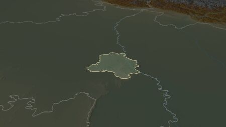 Zoom in on National Capital Territory of Delhi (union territory of India) outlined. Oblique perspective. Topographic relief map with surface waters. 3D rendering Stock Photo
