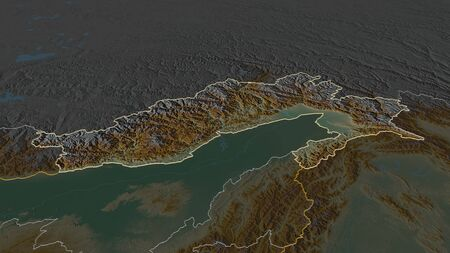 Zoom in on Arunachal Pradesh (state of India) outlined. Oblique perspective. Topographic relief map with surface waters. 3D rendering