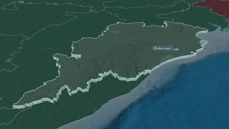 Zoom in on Odisha (state of India) extruded. Oblique perspective. Colored and bumped map of the administrative division with surface waters. 3D rendering