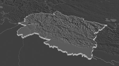 Zoom in on Uttarakhand (state of India) extruded. Oblique perspective. Bilevel elevation map with surface waters. 3D rendering