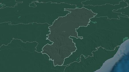 Zoom in on Chhattisgarh (state of India) outlined. Oblique perspective. Colored and bumped map of the administrative division with surface waters. 3D rendering