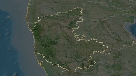 Zoom in on Karnataka (state of India) outlined. Oblique perspective. Satellite imagery. 3D rendering